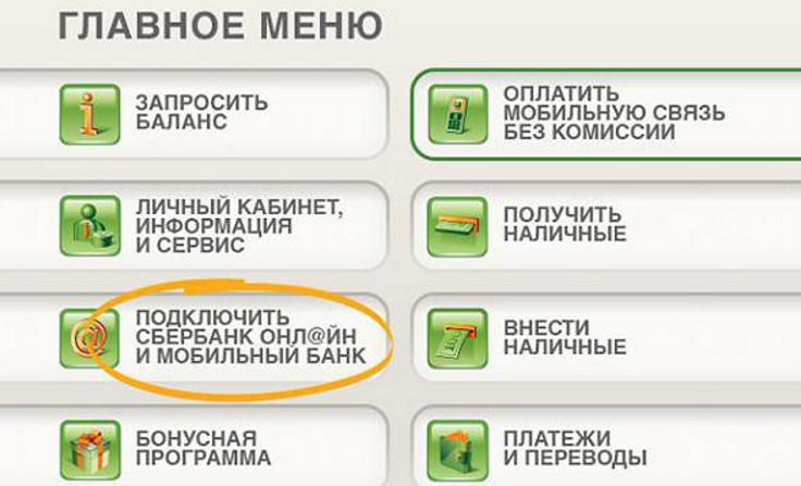 Получить логин и пароль для входа можно через любой банкомат, вставив карту и выбрав необходимый раздел в меню