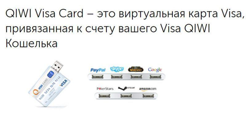 Виртуальная карта выпускается бесплатно для обладателей Киви кошелька