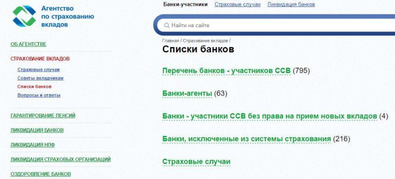 """Актуальный список банков можно найти на официальном ресурсе АСВ в интернете в разделе """"Страхование вкладов"""""""