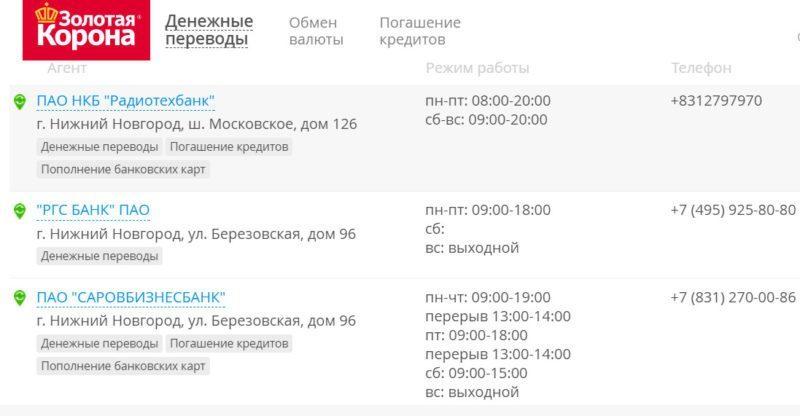 На официальном ресурсе Золотой Короны размещен список с адресами всех банков России, где можно получить денежные средства