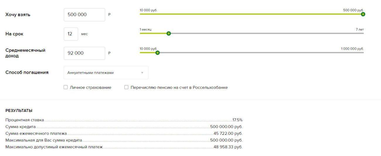 Расчет условий кредитования пенсионера на 500 000 рублей на 12 месяцев